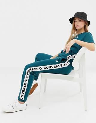 Converse teal tape jogger