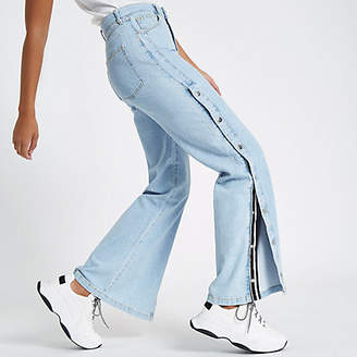 River Island Blue wide leg popper side jeans