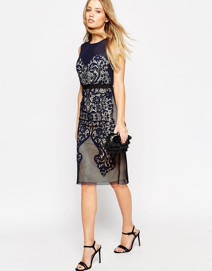 Asos ASOS Lace Embroidered Paneled Midi Body-Conscious Dress