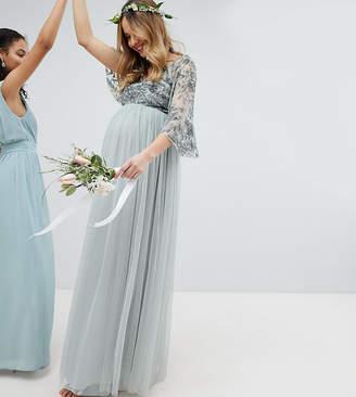 Maya Maternity Sequin Cape Tulle Skirt Maxi Bridesmaid Dress