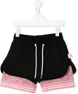 Gcds Kids mesh layer shorts