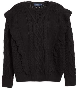 Polo Ralph Lauren Ruffle Detail Wool Cable Sweater