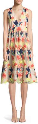 Alice + Olivia Becca Hummingbirds Sleeveless V-Neck Tea-Length Pouf Dress