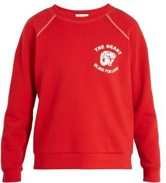 Gucci Spiritismo Applique Crew Neck Cotton Sweatshirt - Mens - Red