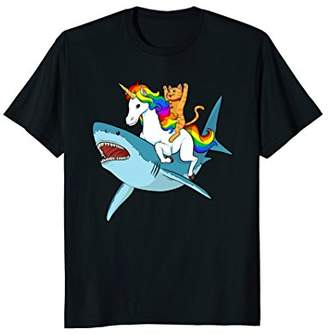 Cat Riding Unicorn Riding Shark T-Shirt