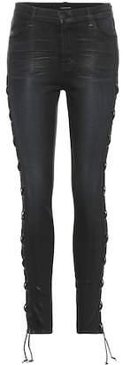 J Brand Maria embellished coated-denim jeans