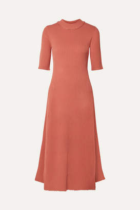 Proenza Schouler Frayed Ribbed-knit Midi Dress - Coral
