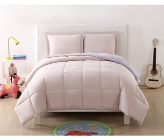 Laura Hart Kids Solid Blush and Lavender Reversible 3 Piece Twin XL Comforter Set