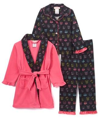 EMOJI Long Sleeve Top & Pants Pajamas, Fleece Robe, 3 Pc Set