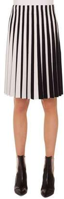 Akris Punto Stripe Pleated Knee-Length Skirt