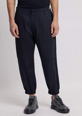 Emporio Armani Tencel Twill Trousers With Maxi-Pockets