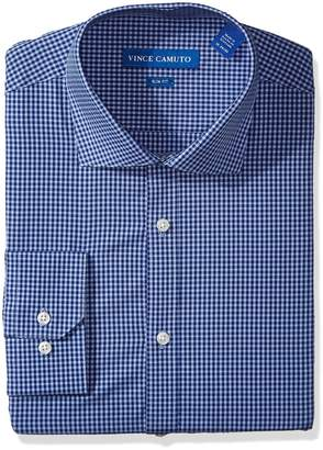 Vince Camuto Men's Slim Fit Small Gingham Dress Shirt