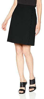 Nine West Women's Textured Crepe a-Line Wrap Skirt Button Detail