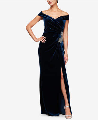 Alex Evenings Off-The-Shoulder Velvet Slit Gown