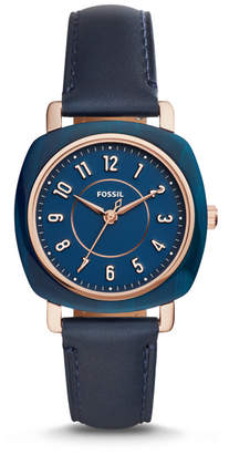 Fossil Idealist Three-Hand Navy Leather Watch