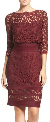 Women's Tadashi Shoji Pleat Waist Lace Blouson Dress $268 thestylecure.com
