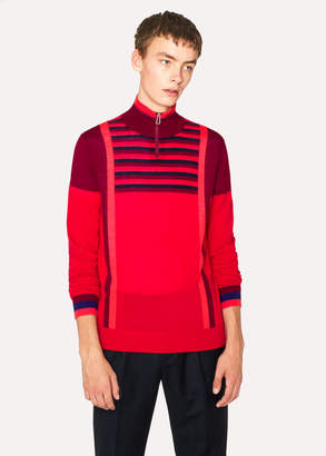 Paul Smith Men's Red Block-Stripe Merino Wool Half-Zip Sweater