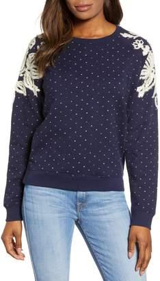 Lucky Brand Chenille Detail Polka Dot Cotton Sweatshirt