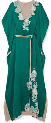 Carine Gilson Chantilly Lace-trimmed Silk-satin Nightdress - Emerald