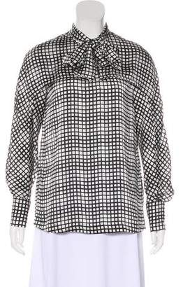 Yigal Azrouel Checkerboard Print Tie-Accented Top