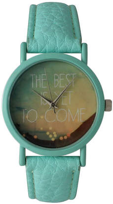 OLIVIA PRATT Olivia Pratt Womens Mint The Best Is Yet To Come Multi-Color Dial Mint Leather Strap Watch 15117