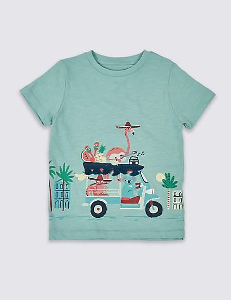 Pure Cotton Animals T-Shirt (3 Months - 7 Years)