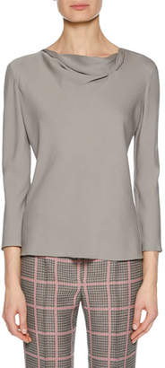 Giorgio Armani Draped-Neckline Long-Sleeve Silk Blouse, Charcoal