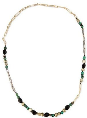Alexis Bittar Long Crystal Chain Link Necklace, Green/Black $395 thestylecure.com