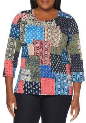 Rafaella Plus Paisley-Print Long-Sleeve Top