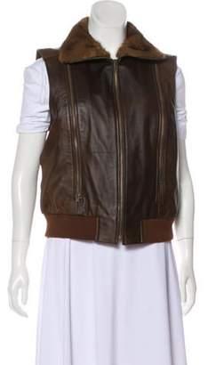 Etcetera by Edmond Chin Fur-Trimmed Leather Vest brown Etcetera by Edmond Chin Fur-Trimmed Leather Vest