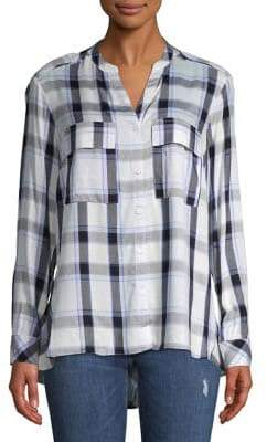 Jones New York Mixed-Media Plaid Button-Down Shirt