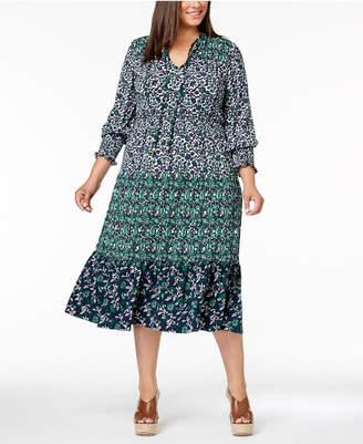 Michael Kors Plus Size Mixed-Print Peasant Dress