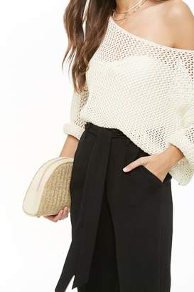 Forever 21 Belted Crepe High-Waist Trousers