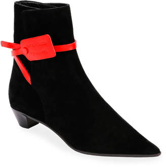 Off-White Off White Zip-Tie Jodhpur Suede Pointed Booties