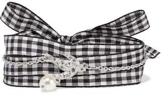 Miu Miu - Gingham Cotton, Silver-tone, Swarovski Crystal And Faux Pearl Bracelet