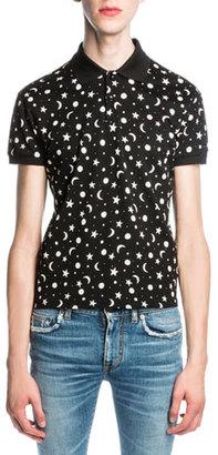Saint Laurent Moon & Star Polo Shirt, Black $490 thestylecure.com