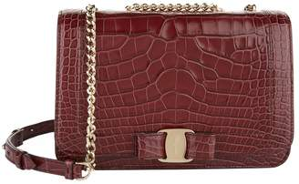 Salvatore Ferragamo Medium Crocodile Vara Bow Flap Bag