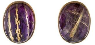 Stephen Dweck Rutilated Quartz Clip-On Earrings