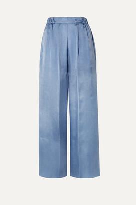 Forte Forte Washed-satin Wide-leg Pants - Light blue