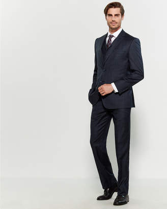 English Laundry 3-Piece Navy Plaid Suit