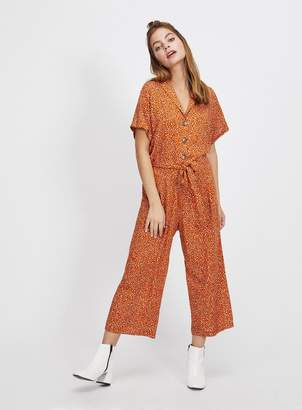 3c5d53c4c768 Miss Selfridge PETITE Rust Animal Print Utility Jumpsuit