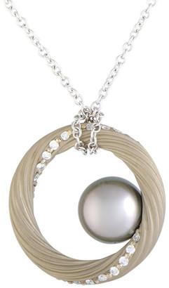 Mikimoto 18K 0.40 Ct. Tw. Diamond & 9.5-10Mm Pearl Necklace