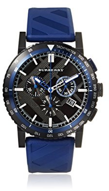 Burberry (バーバリー) - Burberry Men's 42mm Chronograph Blue Rubber Stainless Steel Case Watch BU9807