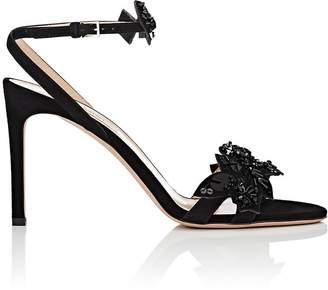 Valentino Women's Embellished Suede Crisscross-Strap Sandals
