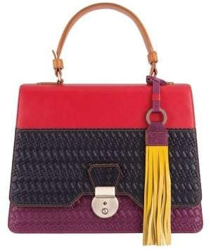 Lodis Rodeo Woven RFID Cher Flap Leather Satchel
