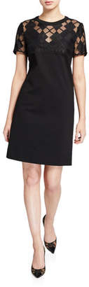 Escada Sport Domb Checkered Lace Illusion Dress