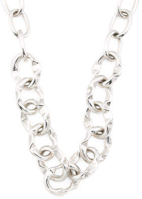 Handmade In Mexico Sterling Silver Ribbon Link Necklace