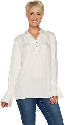 Peace Love World Tuxedo Blouse with Belle Sleeve