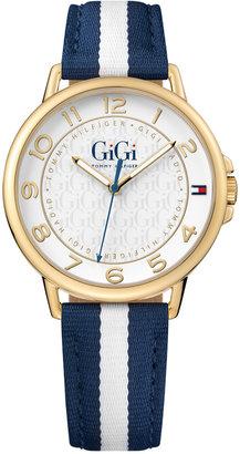 Tommy Hilfiger Gigi Hadid Women's Navy & White Stripe Grosgrain Strap Watch 38mm 1781723 $110 thestylecure.com
