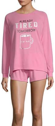 PEACE LOVE AND DREAMS Peace Love And Dreams Ultra Cozy Womens Shorts Pajama Set 2-pc. Long Sleeve